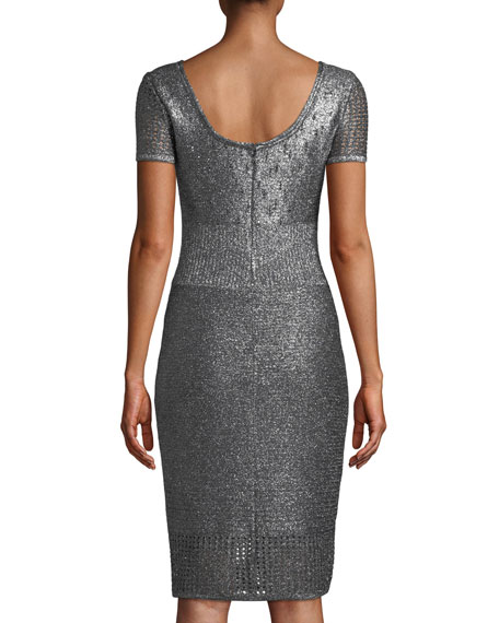 St. John Collection Scoop-Neck Short-Sleeve Metallic-Plaited Body-Con Dress