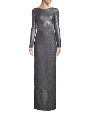 54688ea17b St. John Collection Boat-Neck Long-Sleeve Metallic-Plaited Gown