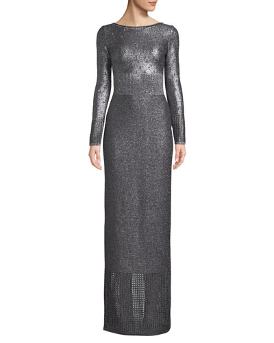 Boat-Neck Long-Sleeve Metallic-Plaited Gown