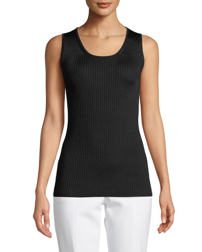 Scoop-Neck Plaited Rib-Knit Shell