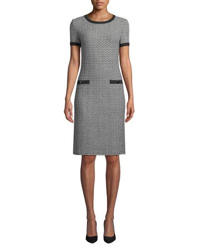 Short-Sleeve Herringbone Knit Dress