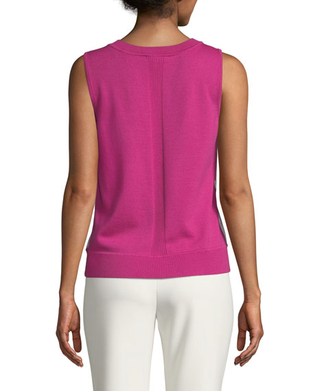 St. John Collection Merino Jersey Knit Shell Top with Floral Silk Panel