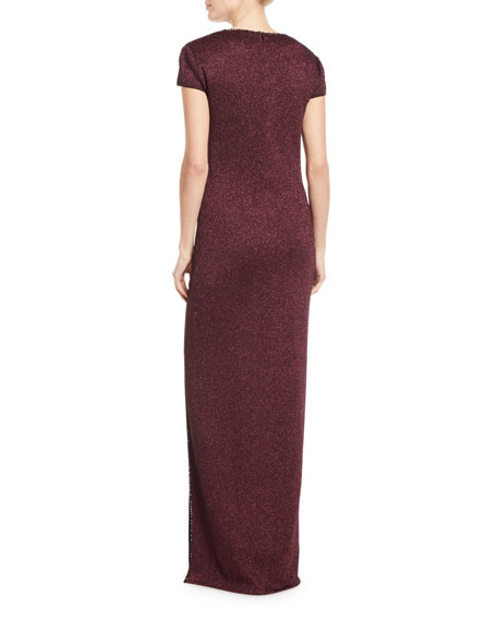 St. John Collection Mod Metallic Knit Cap-Sleeve Column Gown
