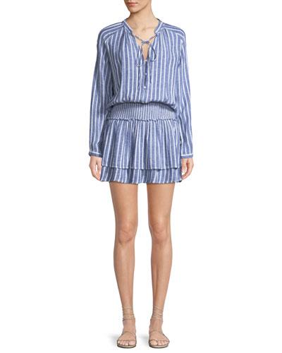 Jasmine Long-Sleeve Tie-Neck Smocked-Waist Striped Linen-Blend Mini Dress