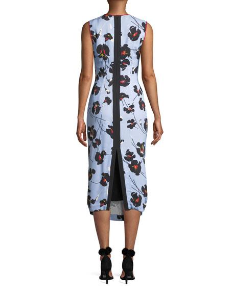 No. 21 Floral-Print Sleeveless Midi Dress
