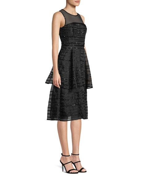 Parker Black Avril Sleeveless Sequin-Stripe Tiered Midi Cocktail Dress