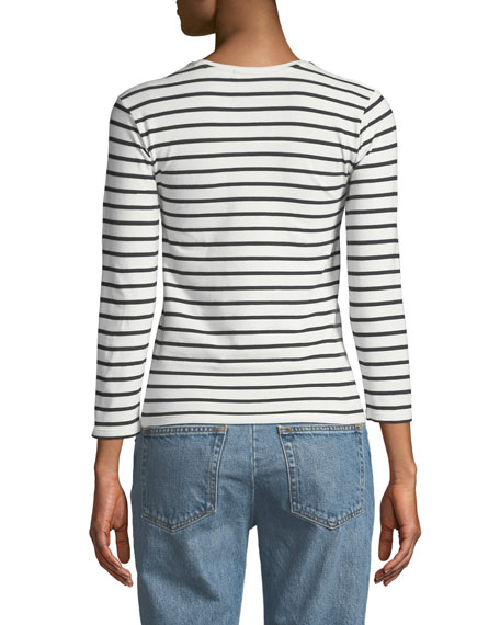 ATM Anthony Thomas Melillo Striped Jersey Long-Sleeve Tee