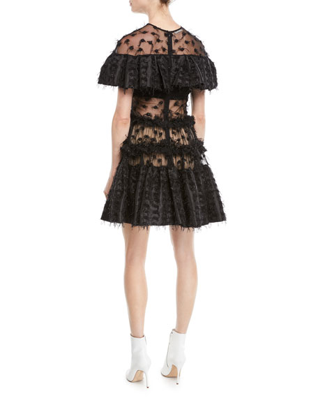 Anais Jourden Twinkle Textured Shimmery Ruffle Popover Dress