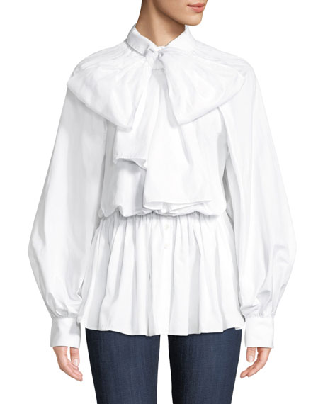Poplin Tie-Neck Button-Front Blouse