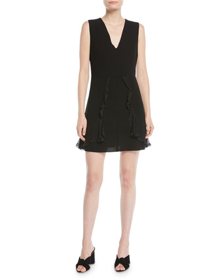 Image 1 of 2: See by Chloe V-Neck Sleeveless A-Line Mini Dress w/ Ruffled Trim
