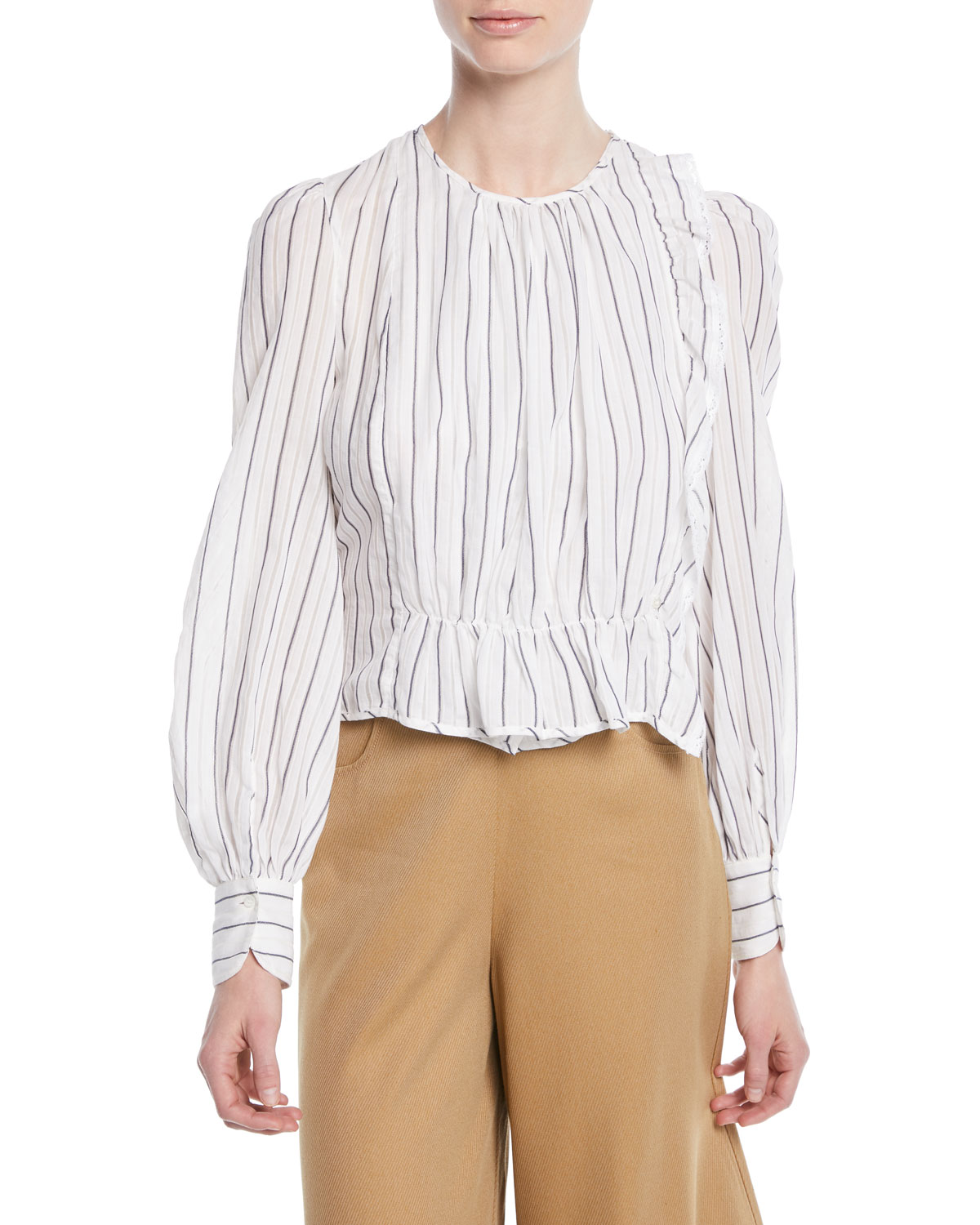 See By Chloe Striped Ruffle Long Sleeve Shirred Blouse