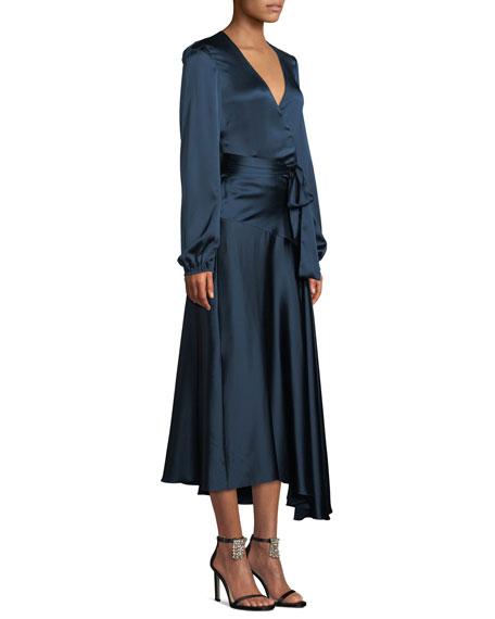Darby Asymmetric Long-Sleeve Silk Wrap Dress