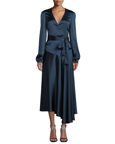Darby Asymmetric Long-Sleeve Silk Wrap Dress