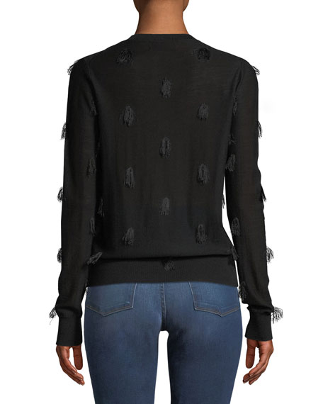 Image 2 of 2: Christian Wijnants Kohino Crewneck Pullover Sweater w/ Fringe Details