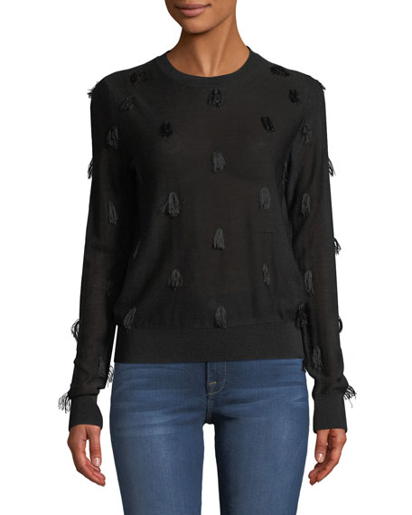 Image 1 of 2: Christian Wijnants Kohino Crewneck Pullover Sweater w/ Fringe Details