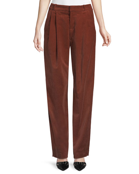 Image 1 of 2: A.L.C. Tori Pleated Corduroy Wide-Leg Pants
