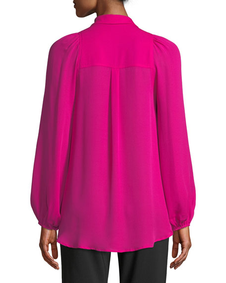 Lori Collared Button Front Blouson-Sleeve Silk Top