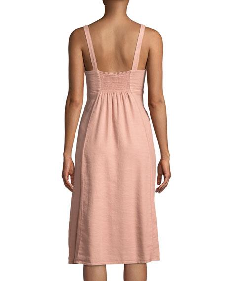 Dahlia Linen Tie-Front Slub Dress