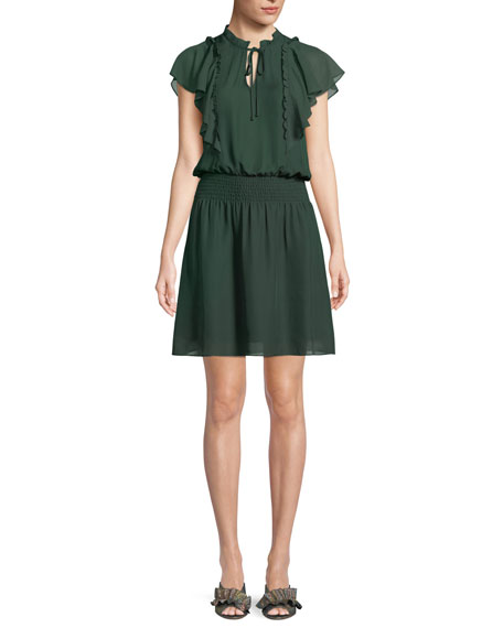 Remington Flutter Sleeve Silk Blend Minidress, Green