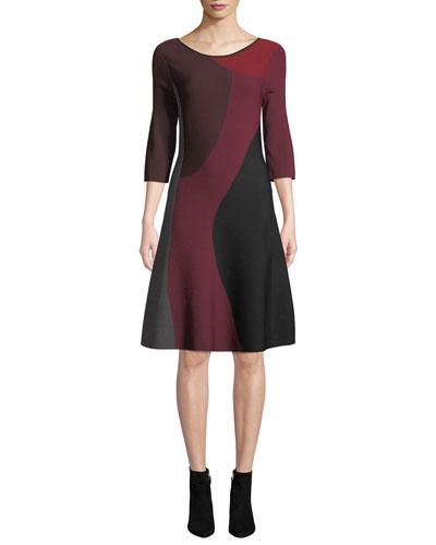 Round-Neck 3/4-Sleeve Colorblock Twirl Dress, Petite
