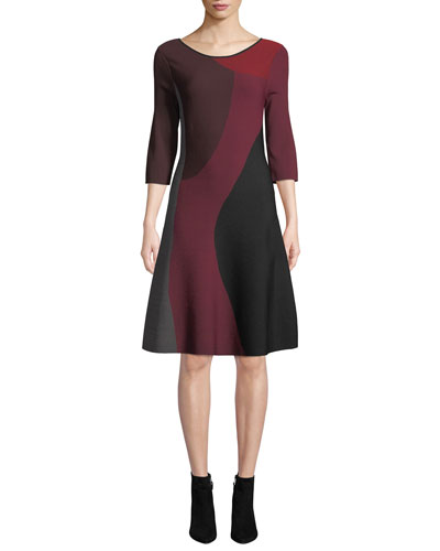 Round-Neck 3/4-Sleeve Colorblock Twirl Dress, Plus Size