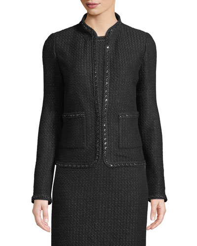 Adina Knit Blazer Jacket with Chain Braid Trim
