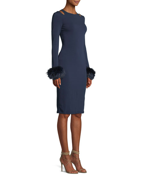 Tabitha Slit-Shoulder Cocktail Dress w/ Fox Fur Cuffs