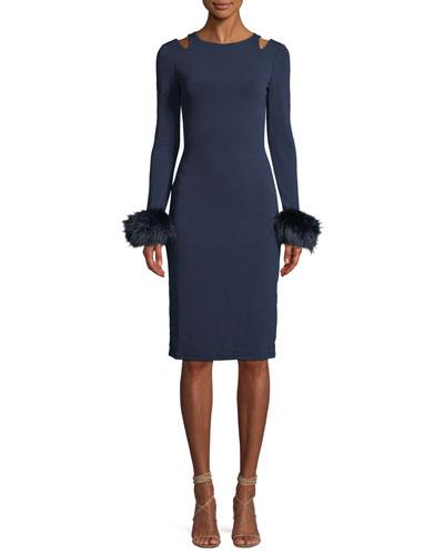 Tabitha Slit-Shoulder Cocktail Dress w/ Fox Fur Cuffs