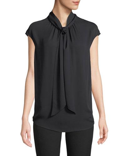 Tie-Neck Cap-Sleeve Silk Georgette Shell