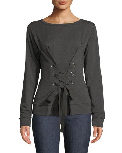 Lace-Up Fleece Pullover Sweatshirt