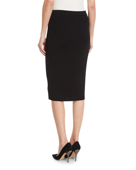 St. John Collection Flat Rib-Knit Pull-On Knee-Length Skirt