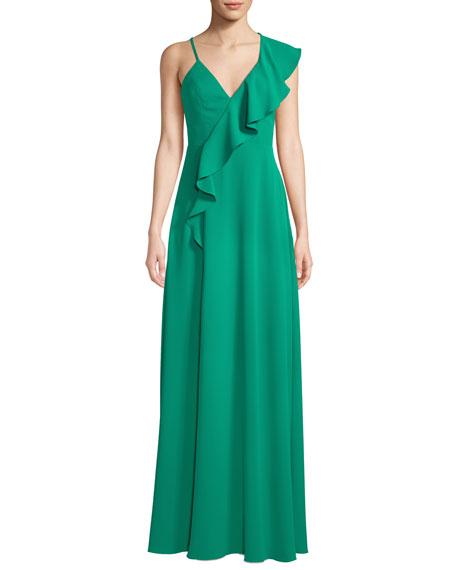 Jay Godfrey Silky Crepe Asymmetric Ruffle Gown