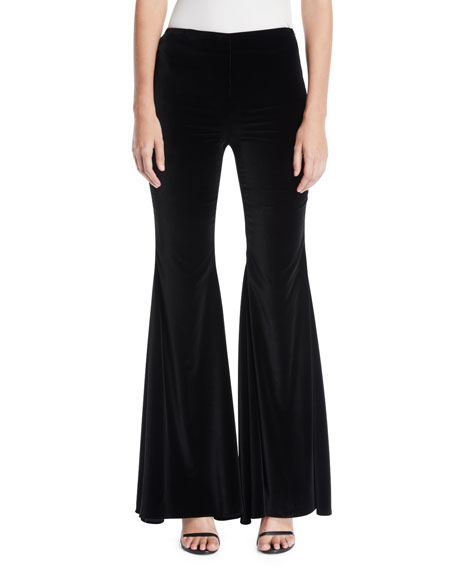 Jinny Side-Zip Full-Length Velvet Pants