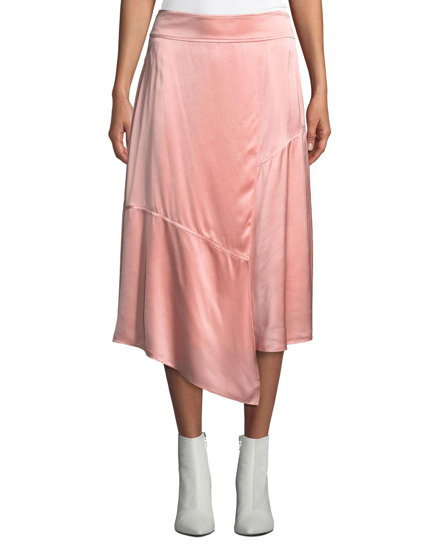 innovative design special for shoe hot sale Draped Asymmetric Satin Midi Skirt
