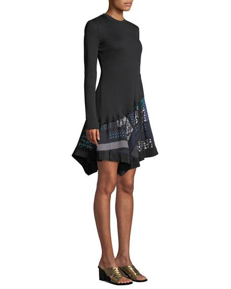 Derek Lam 10 Crosby Ribbed Long-Sleeve Dress with Scarf-Print Hem