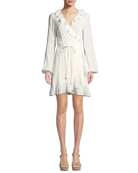 Shawna Long-Sleeve Ruffle Wrap Dress