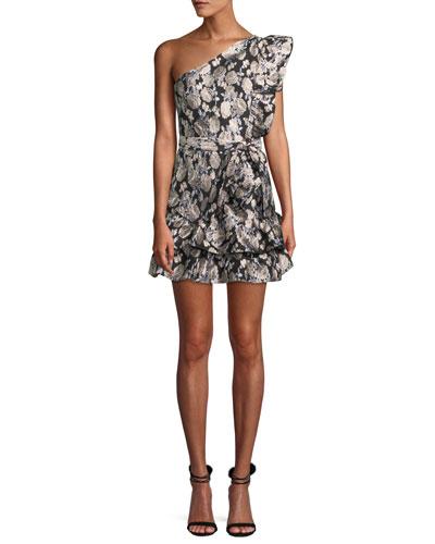 Madyson One-Shoulder Rose Jacquard Mini Cocktail Dress