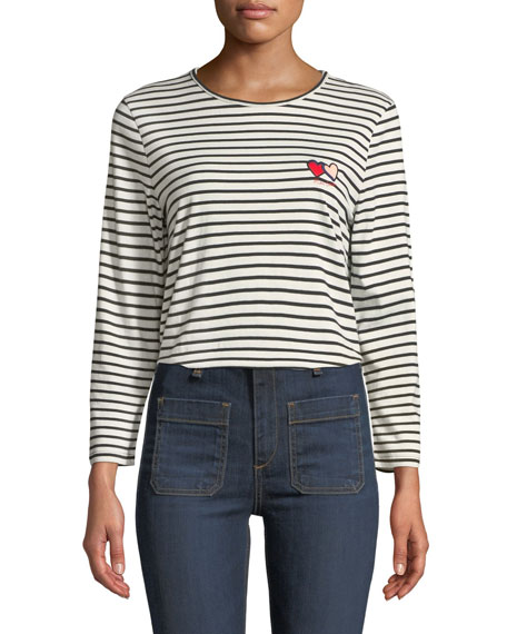 CHINTI & PARKER Twin Heart Striped Long-Sleeve Crewneck Tee in White/Black