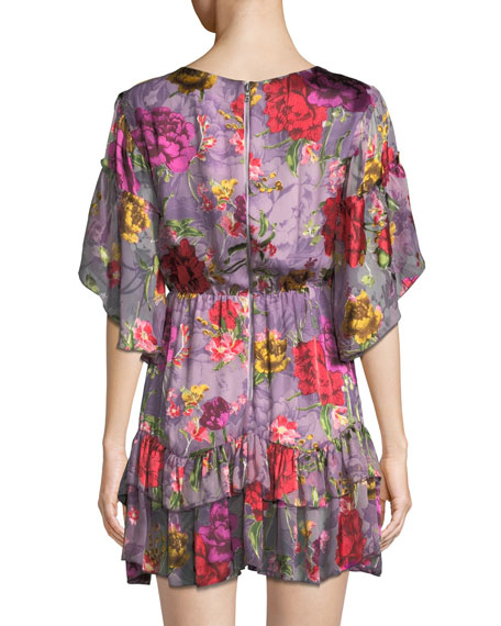 Katrina Bell-Sleeve Ruffle Dress