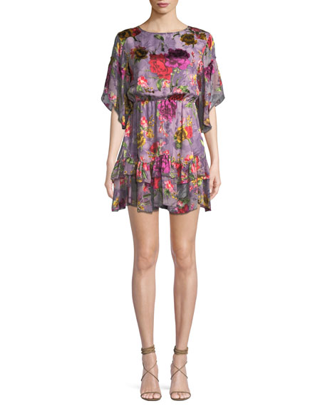 Alice + Olivia Katrina Bell-Sleeve Ruffle Dress