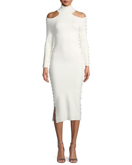 Kahlo Studded Shoulder-Cutout Turtleneck Midi Tank Dress