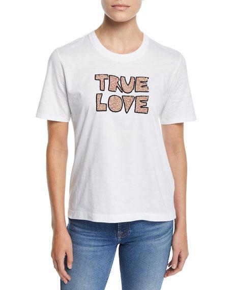 MARKUS LUPFER Alex Sequin True Love Cotton Tee in White