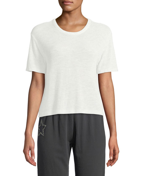 Image 1 of 2: Monrow Mesh Scoop-Neck Athletic Tee