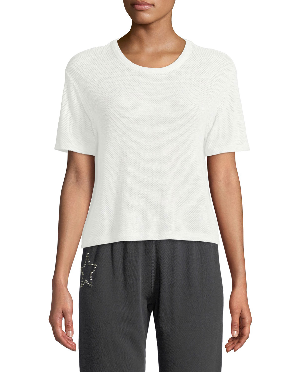 Monrow Mesh Scoop-Neck Athletic Tee