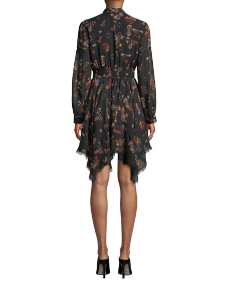 Image 2 of 3: Derek Lam 10 Crosby High-Neck Printed Silk Long-Sleeve Handkerchief Dress