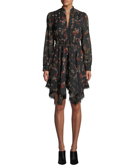Image 3 of 3: Derek Lam 10 Crosby High-Neck Printed Silk Long-Sleeve Handkerchief Dress
