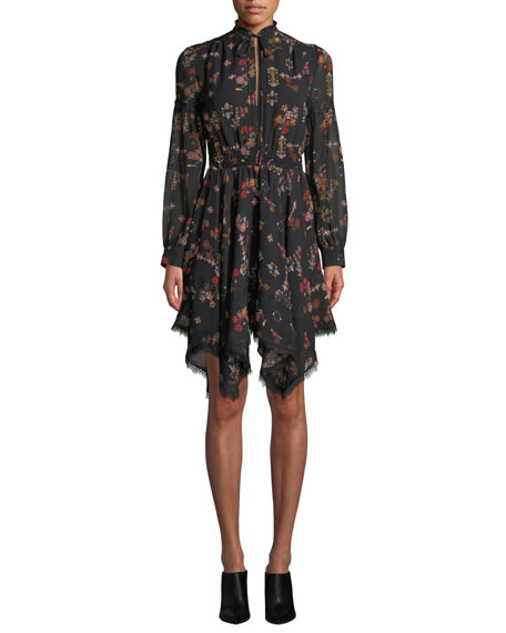 Image 1 of 3: Derek Lam 10 Crosby High-Neck Printed Silk Long-Sleeve Handkerchief Dress