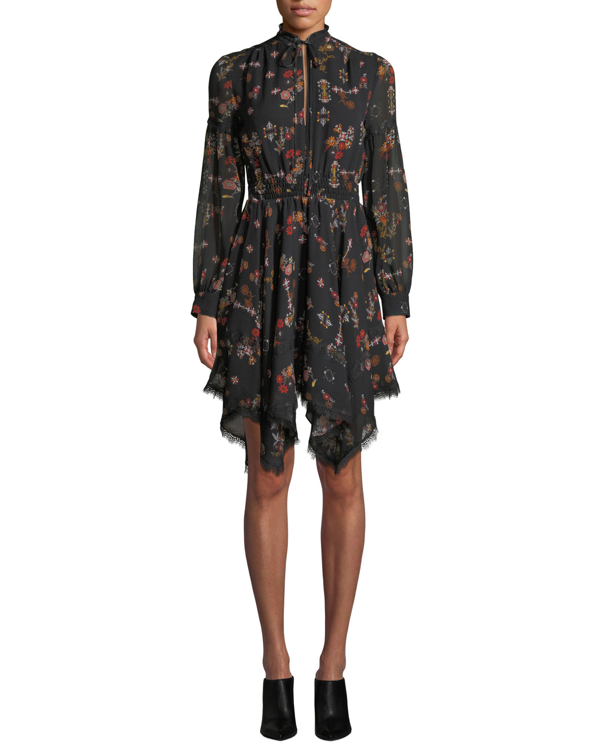Derek Lam 10 Crosby High-Neck Printed Silk Long-Sleeve Handkerchief Dress