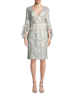 9ea4f31f11b Jovani Trumpet-Sleeve Sheath Dress w  Floral Embroidery