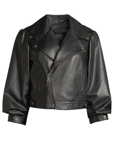 Arlo Gathered-Sleeve Leather Moto Jacket